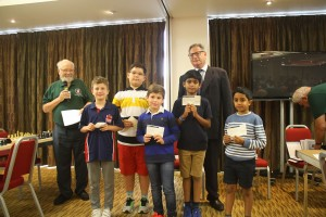 All the Under 9 winners with Dave Welch and Dominic Lawson