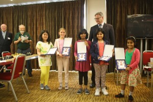 All the Under 9 Girls' winners with ECF President Dominic Lawson
